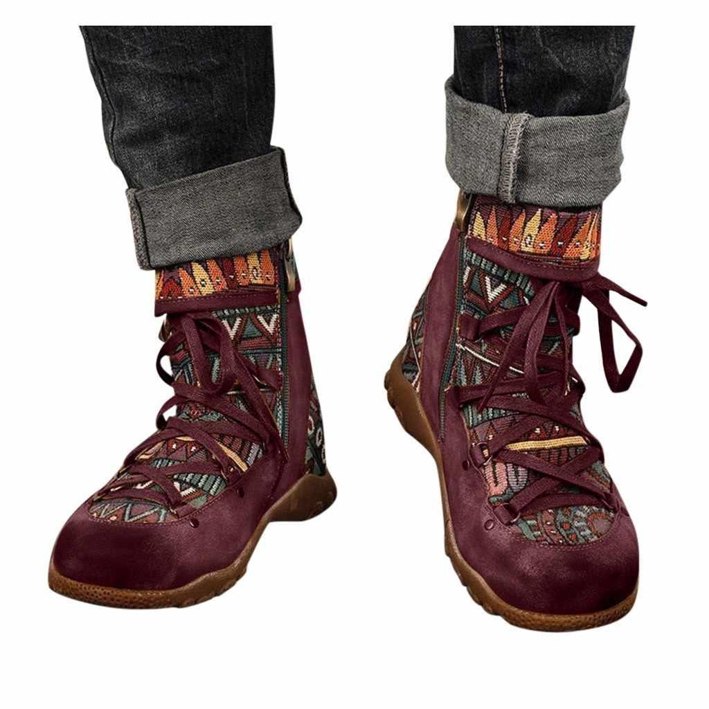 2020 outono inverno novas senhoras femininas retro boêmio estilo tornozelo zip botas curtas botas sapatos casuais sapatos femininos 2020 # o22