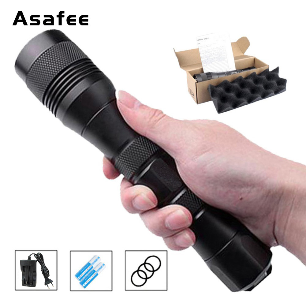 Asafee DIV01 LED Dive Flashlight Portable Diving Torch CREE XM L2 U4 Underwater 200m 26650 18650