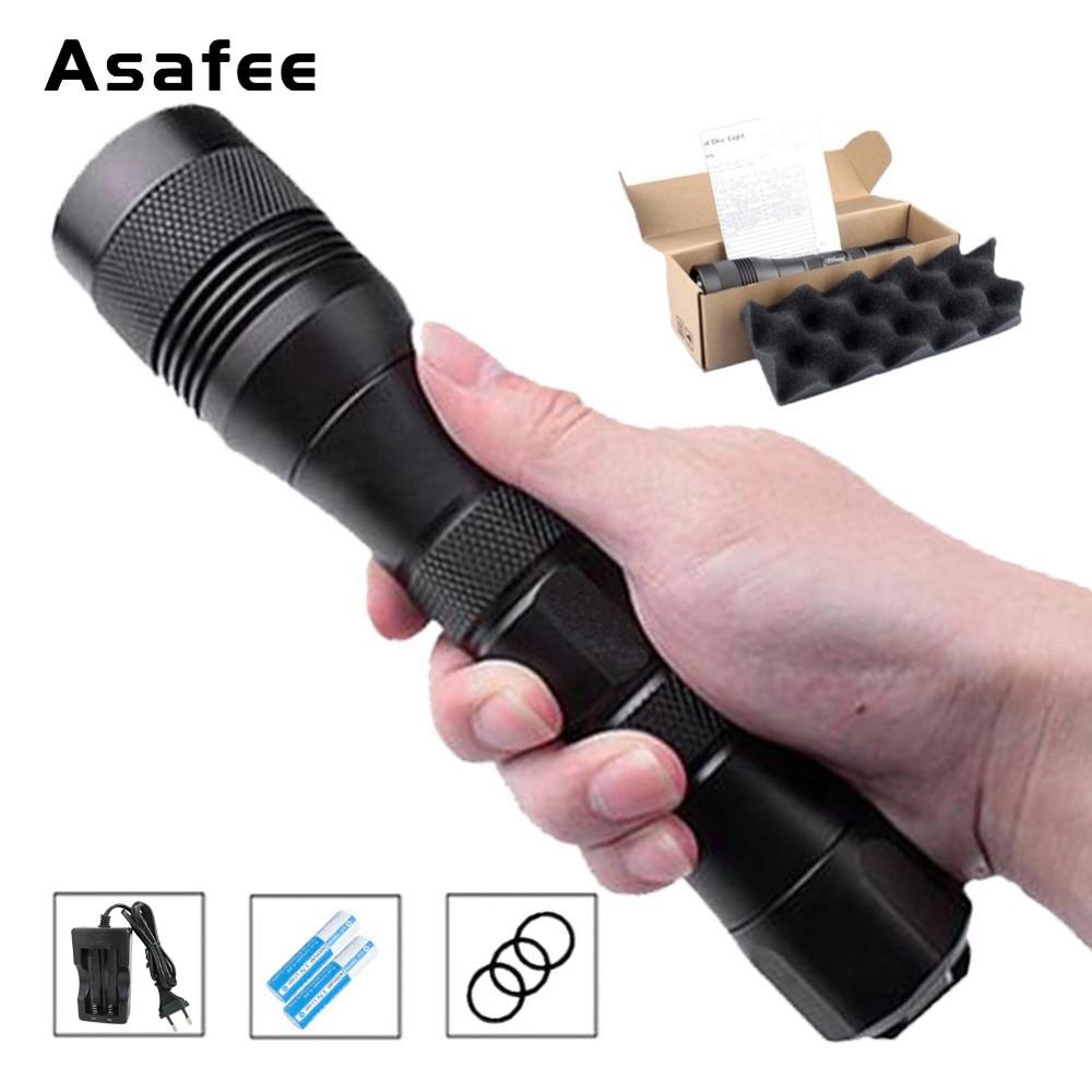 Asafee DIV01 LED Dive Flashlight Portable Diving Torch CREE XM L2 U4 Underwater 200m 26650 18650