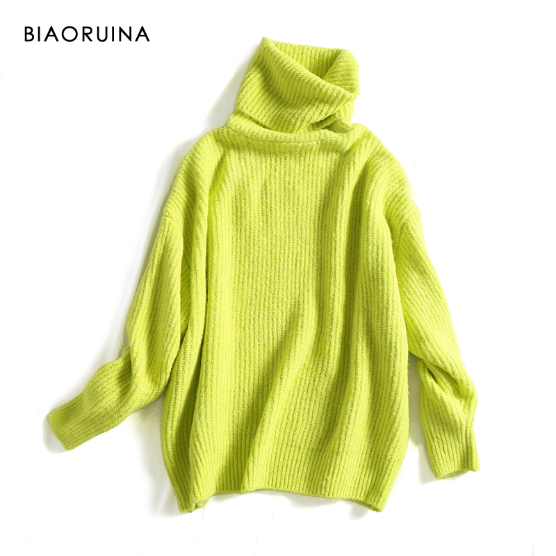 REJINAPYO 15 Color Women Fashion Solid Casual Knitted Sweater Female Turtleneck Oversized Pullover Ladies Elegant Loose Sweater 1