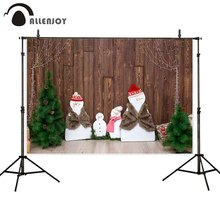 Allenjoy photophone backgrounds Christmas snowman tree wood wall children dercor photographic backdrops photobooth photocall