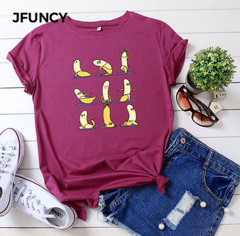 JFUNCY Plus Size T Shirt Women Summer Cotton T-Shirt Funny Banana Printed Short Sleeve Female Tee Tops New Oversize Woman Tshirt hillbilly funny tshirt t shirt women 2018 vintage tshirt cotton tee shirt plus size psychedelic research volunteer t shirt women