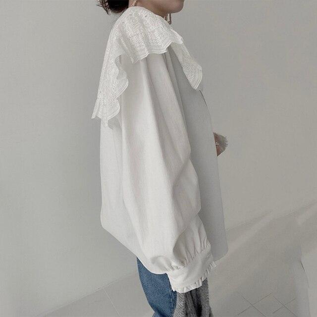 Ezgaga Blouse Women Korean Chic Vintage Long Sleeve Turn-Down Collar Embroidery Hook Flower Loose Solid Ladies Shirts Fashion 5