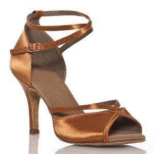 Image 2 - Schwarz Satin + PU Oberen Ballsaal Tanzen Schuhe frauen Tanz Schuhe Mit Hohen Absätzen Tanz Schuhe Frauen Latin Schuhe mit breite Breite
