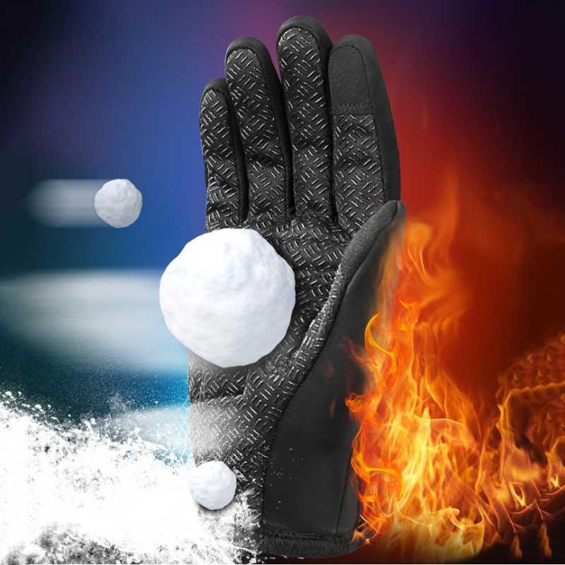 Motosiklet eldivenleri erkek kadın yarış Motocross dokunmatik ekran eldiveni fermuar polar tam parmak kaymaz sürme kayak kar eldivenleri