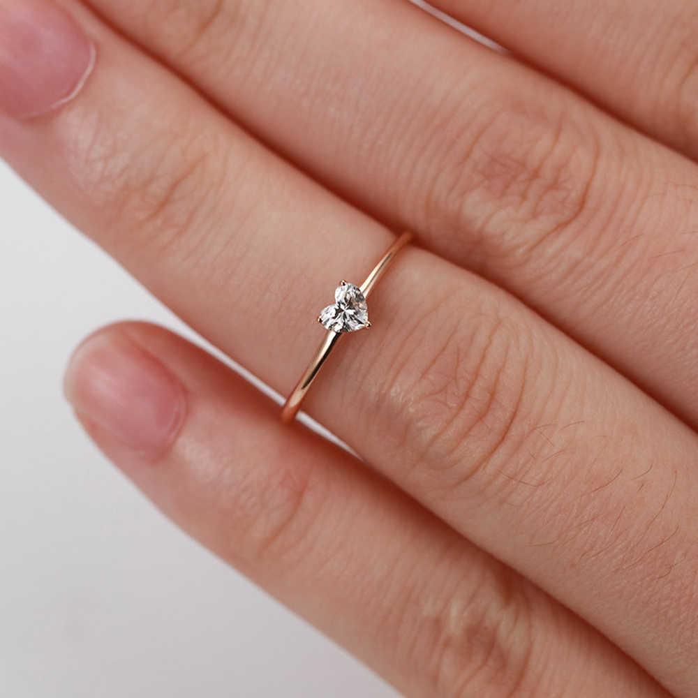 Anelli per le donne piccolo cuore a forma di oro colore anello di fidanzamento di nozze gioielli zircone romantico gioielli di moda KBR014-M