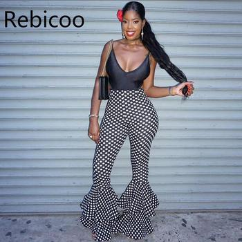 Women polka dot flared high-waisted trousers  Sexy ladies ruffle pants Sexy bell bottom flare pants streetwear high quality high waist polka dot print trumpet pants