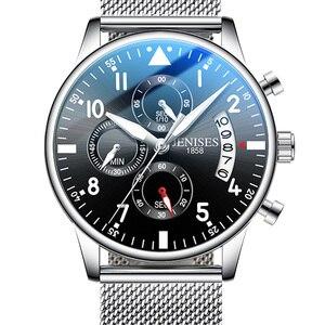 Image 1 - Мужские спортивные часы JENISES, Топ бренд, Модные Военные часы с хронографом, Автоматическая Дата, кварцевые часы с кожаным ремешком, мужские часы Relogio Masculino