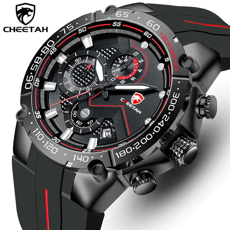 Top Brand Cheetah Mannen Horloge Casual Business Horloge Fashion Luxe Siliconen Band Sport Waterdichte Klok Relogio Masculino