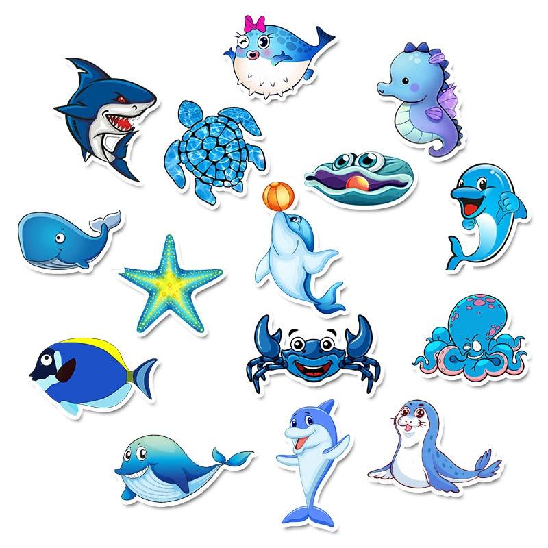 49Pcs Cartoon Marine life Not repeating Waterproof Stickers for DIY Laptop Phone Suitcase Bicycle Helmet Car Decals Juguetes