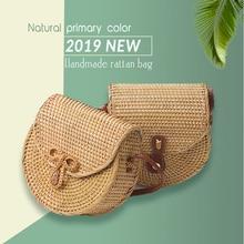 half round rattan bag Womens 2019 Hand shoulder Straw bags handbag wallet Beach Lady clutch Shoulder Bag