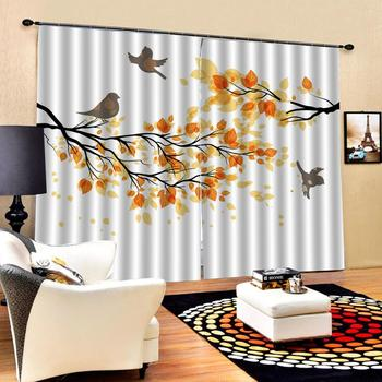 Blackout 3D Window Curtains For Living Room Bedroom Customized size Depicting abstract yellow leaf bird curtain for living