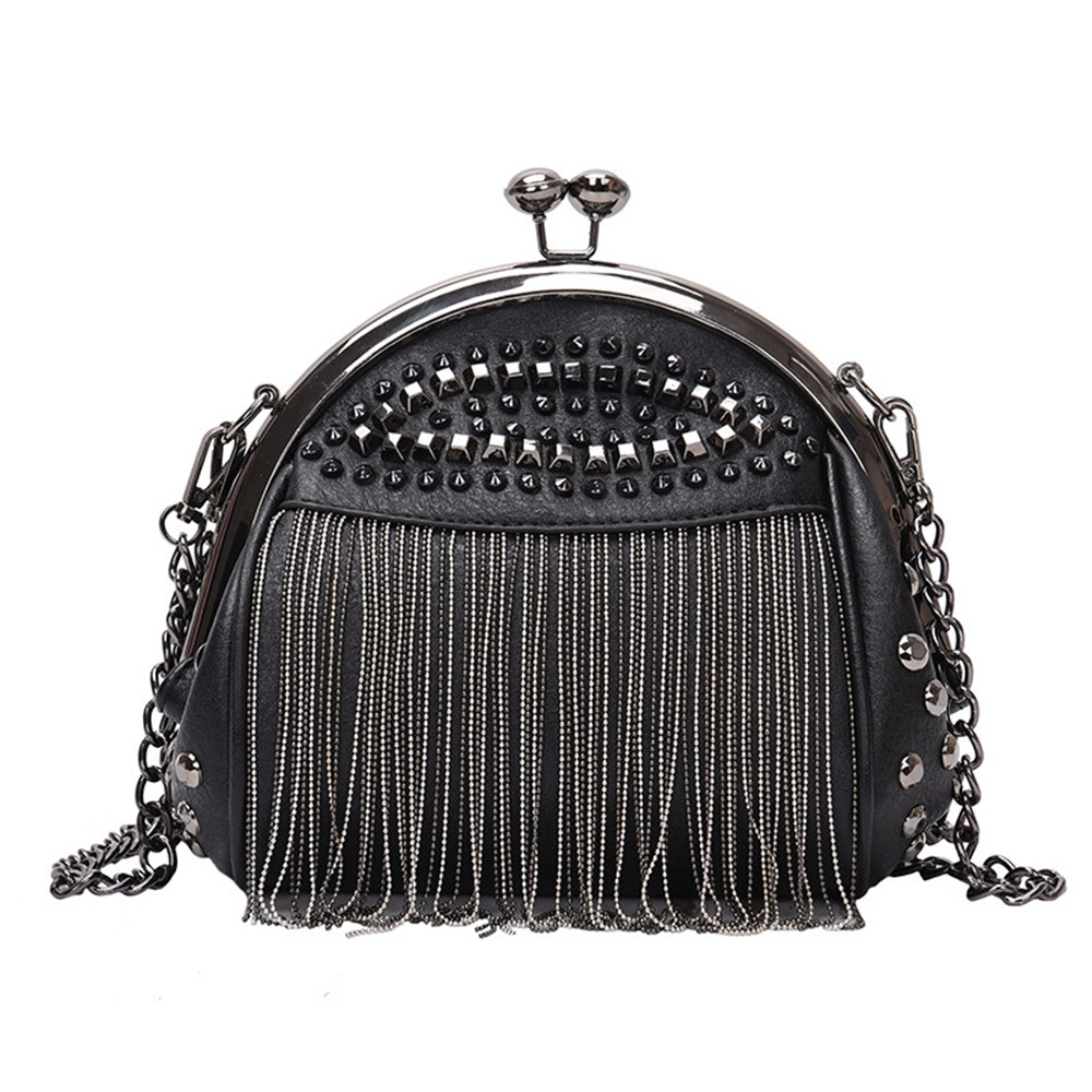 New Synthetic Leather Studded Detail Ladies Trendy Crossbody Bag