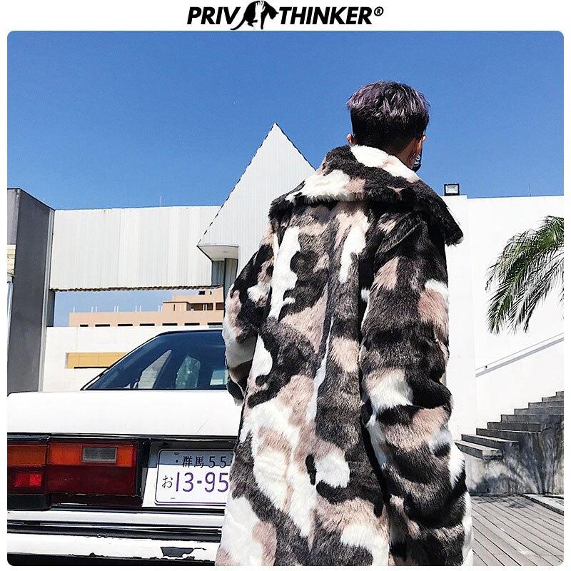 Privathinker, мужской модный Камуфляжный Длинный плащ из искусственного меха, мужская куртка в стиле хип хоп, утолщенная теплая парка, Мужская зим...