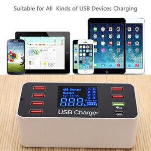 Image 5 - 40W מהיר רב יציאת USB מטען רכזת תשלום 3.0 סוג C USB טעינת תחנת שולחן העבודה מטען מהיר Led תצוגה 8 יציאות Multiport