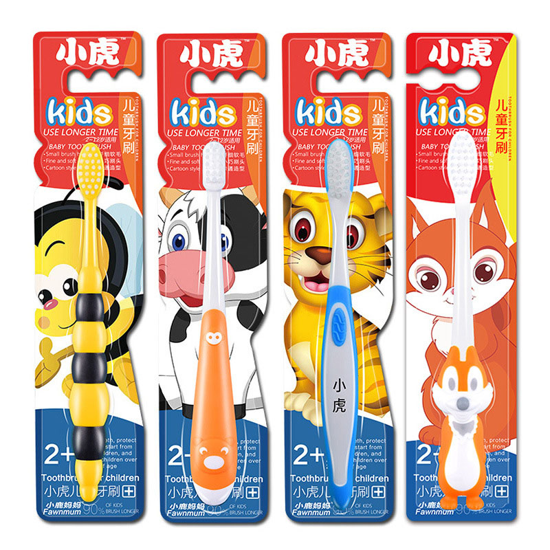 1pcs 0.02mm Soft Bristle Children Cartoon Toothbrush Cute Cow Bee Squirrel Tiger Kangaroo Design For Girls Boys Kids Clean Teeth