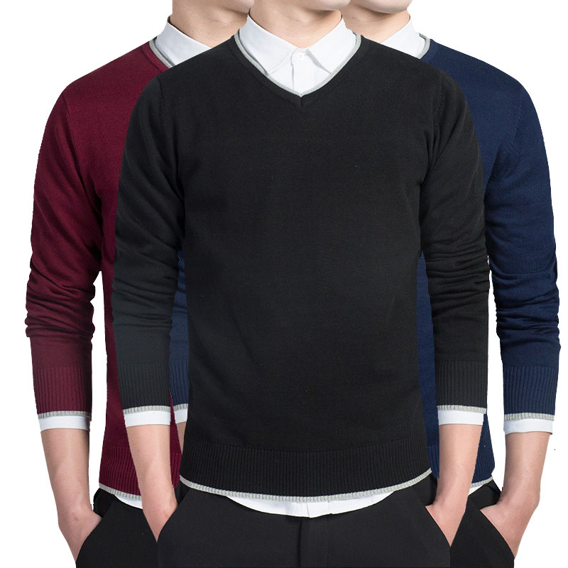 Solid Cotton Sweater Men Long Sleeve Pullovers Men V-Neck Sweaters Tops Loose Fitness Knitting Sweaters Clothing 3XL