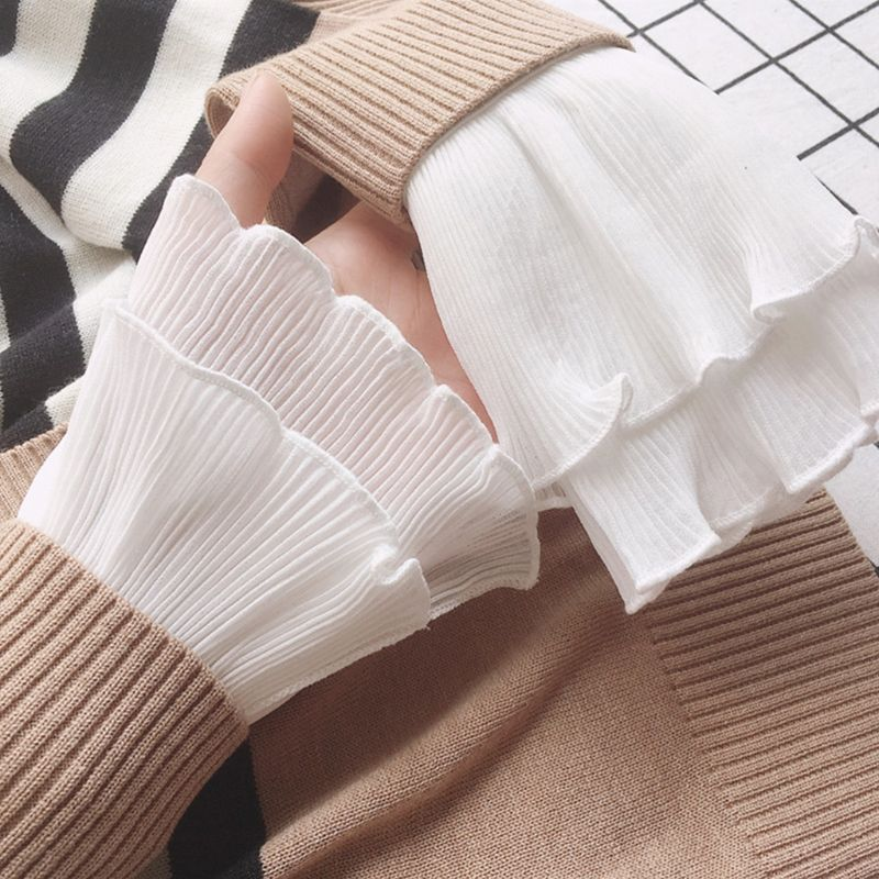 Japanese Women Layered Ribbed Striped Horn Cuffs Agaric Ruffles Wrinkled Solid Color Detachable Fake Sleeve Wrist Warmer