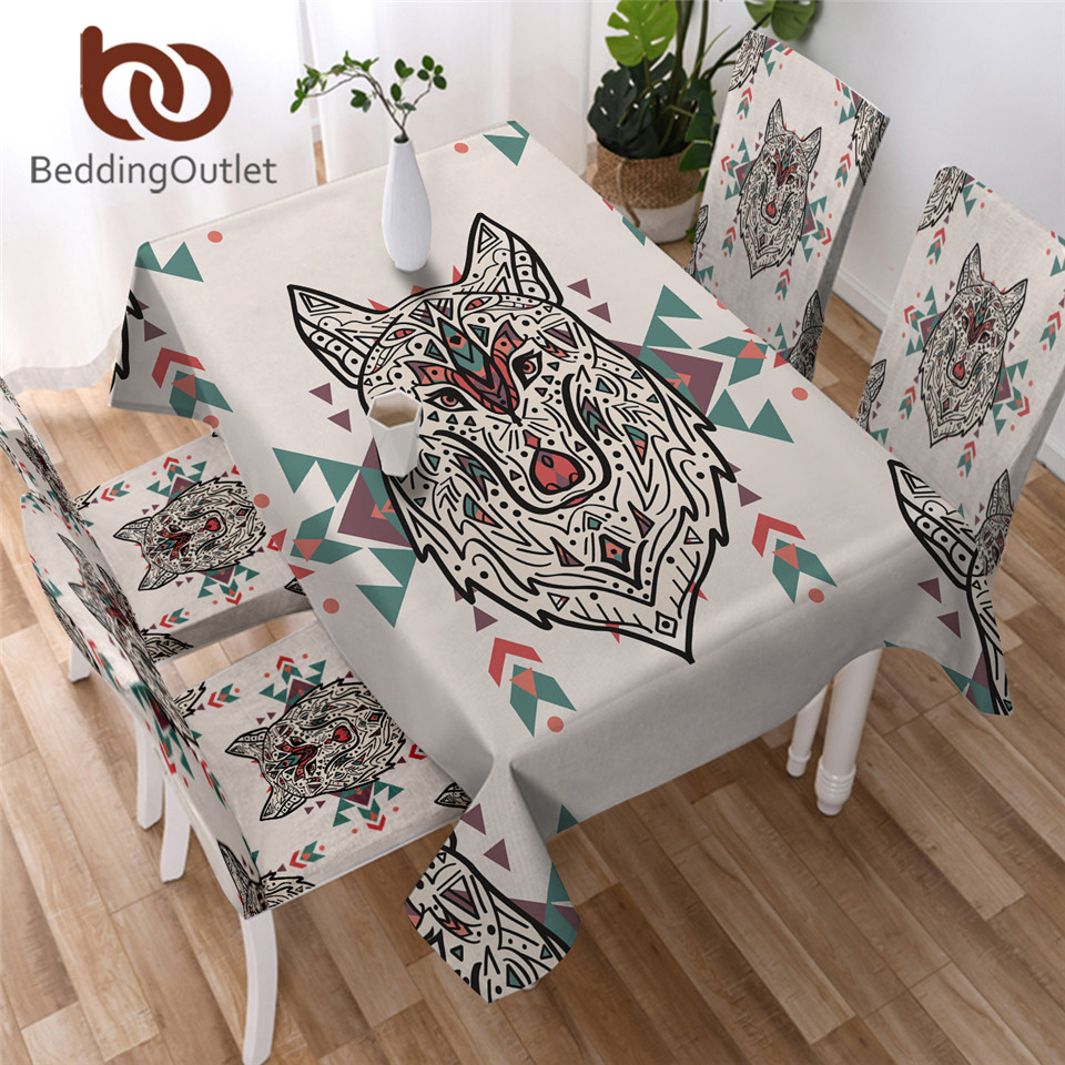 BeddingOutlet Wild Animal Tablecloth Waterproof Tribal Wolf Dining Table Cover Colorful Kitchen Table Cloth Rectangular manteles 1