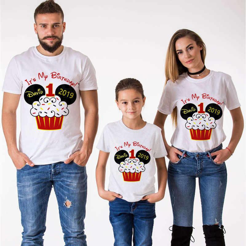 Mouse Kue Ulang Tahun Keluarga Yang Sesuai dengan Pakaian Mommy dan Saya Pakaian Saya 1st Ulang Tahun T-shirt Anak Laki-laki Pakaian Lengan Pendek tshirt