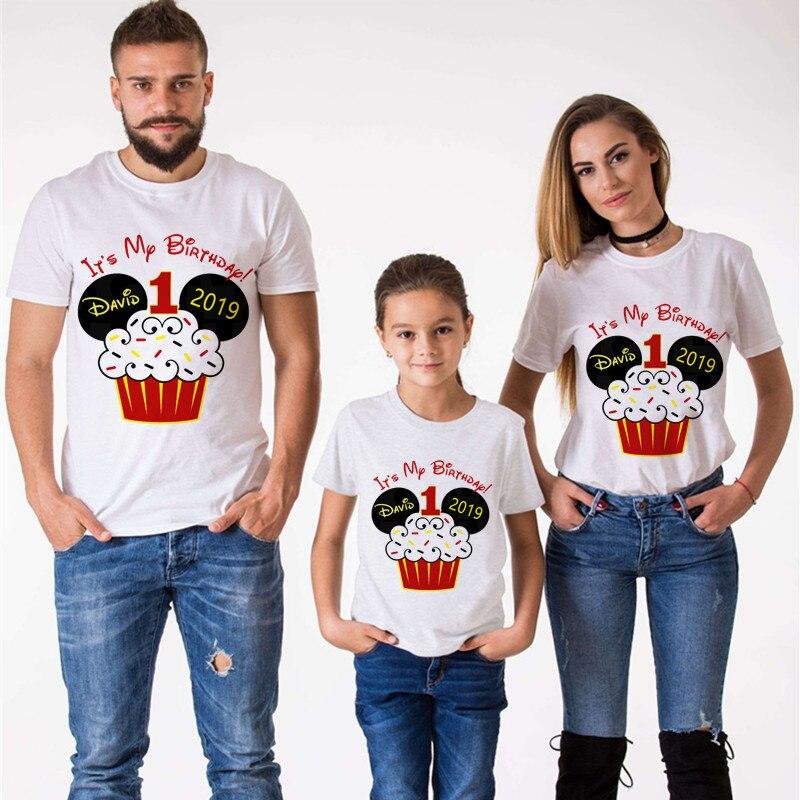 Mouse torta de cumpleaños familia que empareja ropa Mommy and Me ropa es mi primer cumpleaños camiseta niños ropa camiseta de manga corta Juego de cinco piezas redondas para hornear, molde para pasteles y galletas, combinación de acero inoxidable para hornear, herramientas de decoración de pasteles Diy