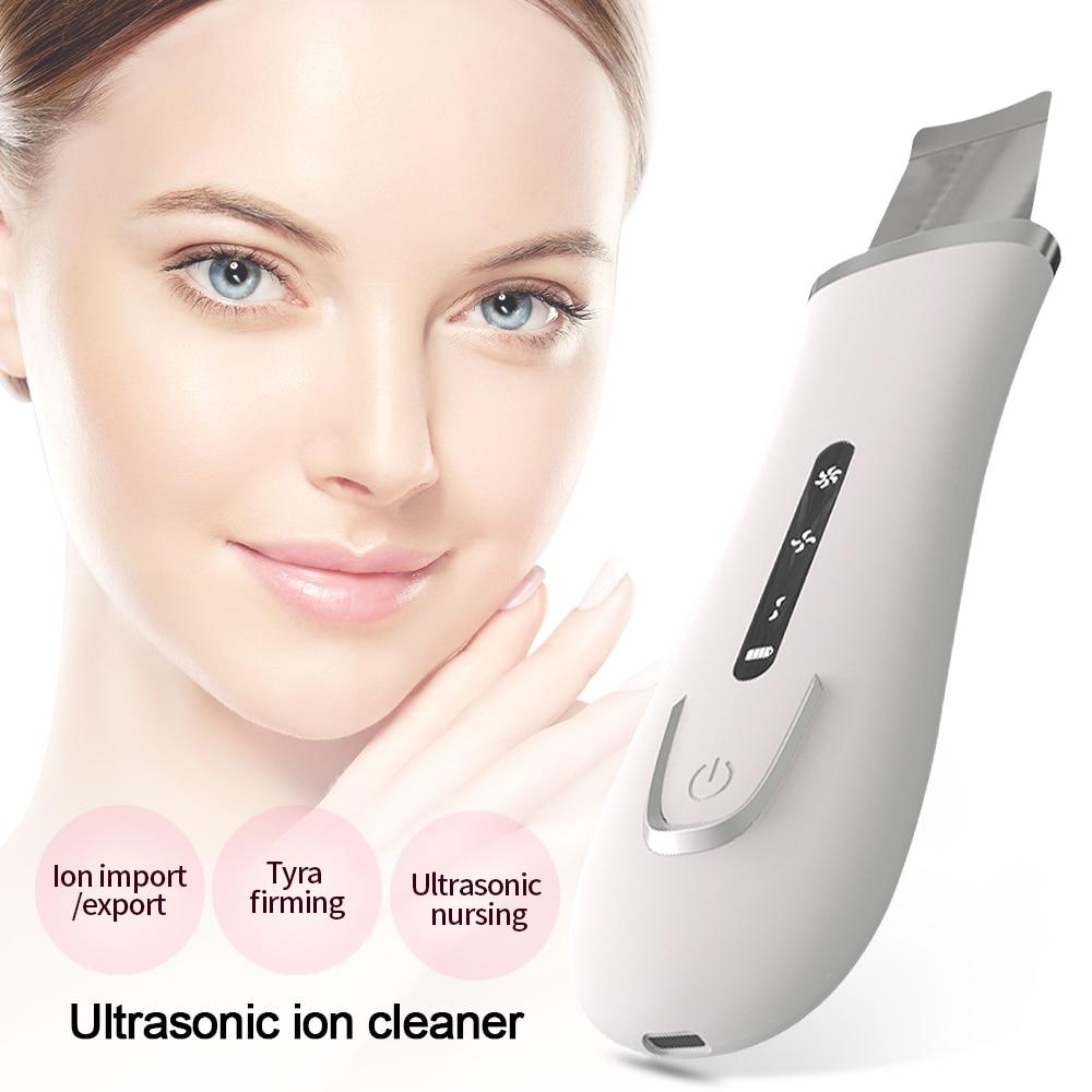 Ultrasonic Skin Scrubber Instrument Of Ultrasound Scraper Import Cleaner Pore Cleaner Dead Skin Remover Face Scrubber Peeling