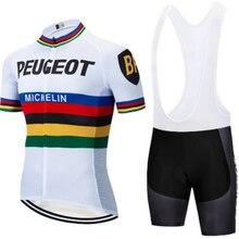 цена на Peugeot cycling jersey set pro team men summer short sleeves bike racing clothing maillot ciclismo outdoor sportswear bib shorts