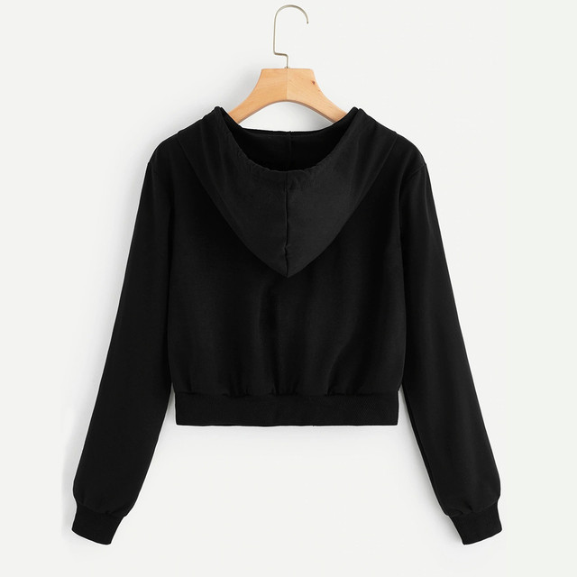 #H30 Spring Autumn Womens Tops And Blouses White Crop Top Women Solid Color Hooded Casual Long Sleeve Zipper Pocket Shirt 4