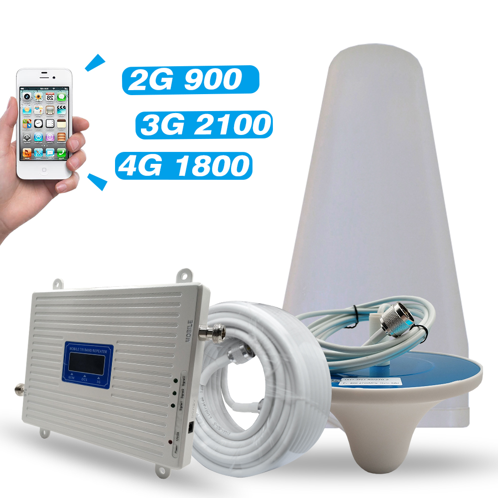 2G 3G 4G Network GSM 900+DCS/LTE 1800+UMTS/WCDMA 2100 Mobile Signal Repeater Tri Band Amplifier 900 1800 2100 Cell Phone Booster