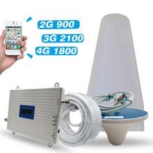 2G 3G 4G сеть GSM 900 + DCS/LTE 1800 + UMTS/WCDMA 2100 мобильный ретранслятор сигнала трехдиапазонный усилитель 900 1800 2100 Усилитель сотового телефона