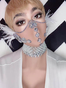 Stage-Accessories Masked Skull Crystal Sparkly Rhinestone Singer Party Halloween Womens