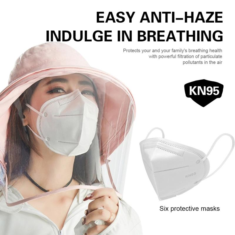 KN95 Protective 6 Layers Dustproof Facial Protective Cover Masks Breathable PM2.5 Disposable Masks Respirator Face Shield Masks