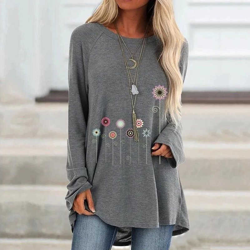 Floral Print Loose Tshirts For Women Long Sleeve Casual Female T-Shirt 2020 Spring Autumn Loose Woman Shirts Plue Size Clothes