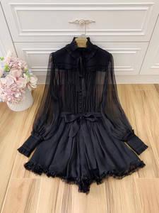 Ziwwshaoyu Overalls Women's Jumpsuits Clothing Party Silk Black Summer Lantern-Sleeve