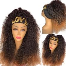 Wigs Headband Human-Hair Simbeauty for Black Women Gluesless 180-Density Blonde Curly