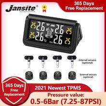 Jansite Big Screen TPMS Car Tire Pressure Monitoring Intelligent System Solar Power Digital Display Auto Alarm Monitor 4 Sensors