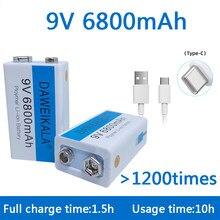 9v bateria recarregável do li-íon da bateria 6800mah micro bateria usb lítio para o brinquedo do microfone do multímetro + cabo de carregamento usb