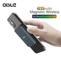 Batteria da 4225mah integrata con ricarica portatile Wireless Qi magnetica per iphone 12 mini Pro Max Power Bank Magsafe Mini caricabatterie oisland