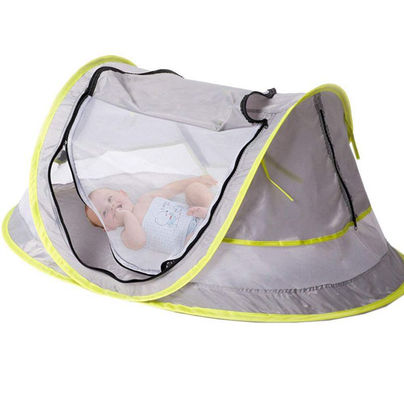 Baby Travel Bed, Portable Baby Beach Tent UPF 50+ Sun Shelter, Baby Travel Tent Pop Up Mosquito Net And 2 Pegs, Ultralight Weigh