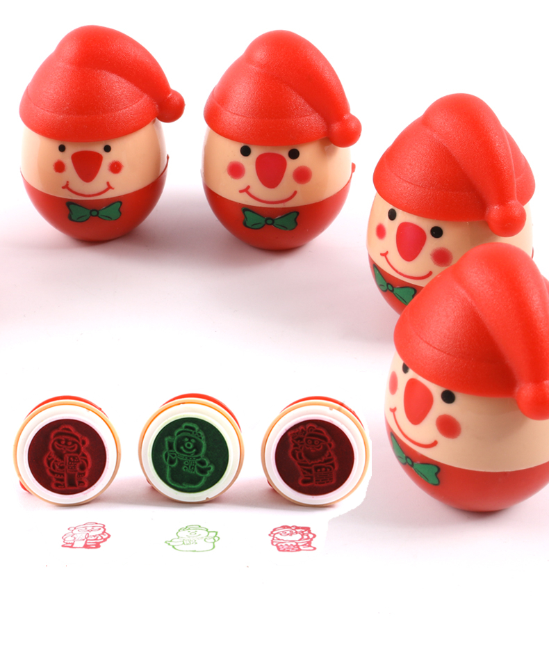 1PCs Tumbler Santa Claus Cartoon Seal  Self-Inking Stamp Plastic Funny Color Inks Child DIY  Kids Toy