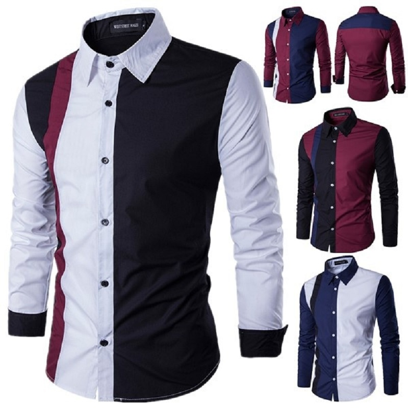 Zogaa 2020 Autumn Fashion Patchwork Men's Shirts Long Sleeve Turn-down Collar Casual Dress Shirts Sexy Slim Fit Camisas Hombre