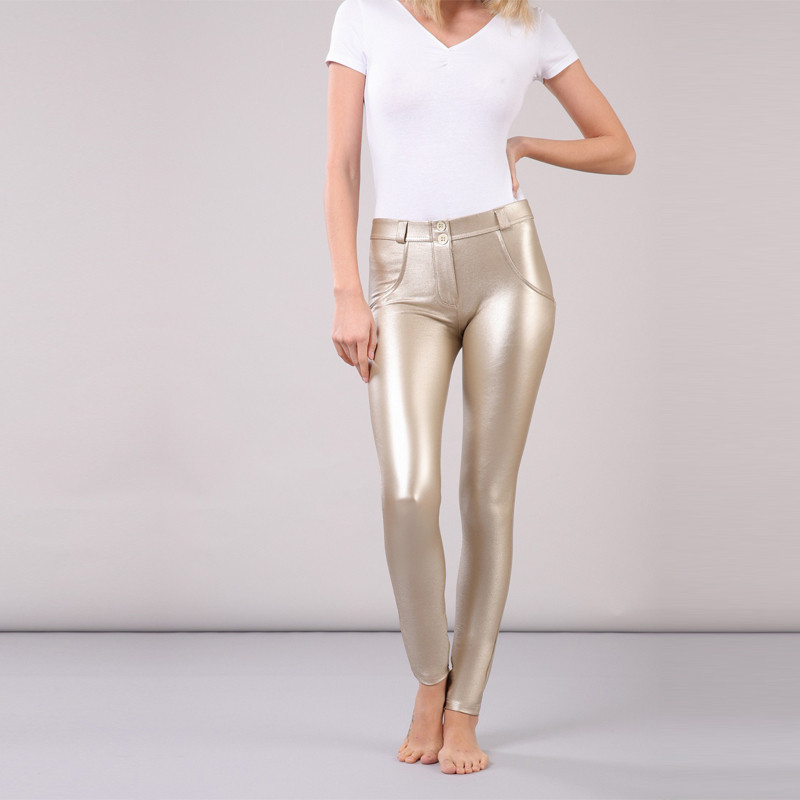 Four Ways Stretchable Melody Pants Gold Leather Pants Outfit Fur Lined Leggings Waterproof Metallic Leggings