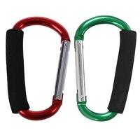 2 sztuk duży w kształcie litery D karabińczyk ze stopu aluminium miękka rączka zakupy hak obóz hak klucz zewnętrzny pierścień zielony czerwony i zielony w Akcesoria wspinaczkowe od Sport i rozrywka na