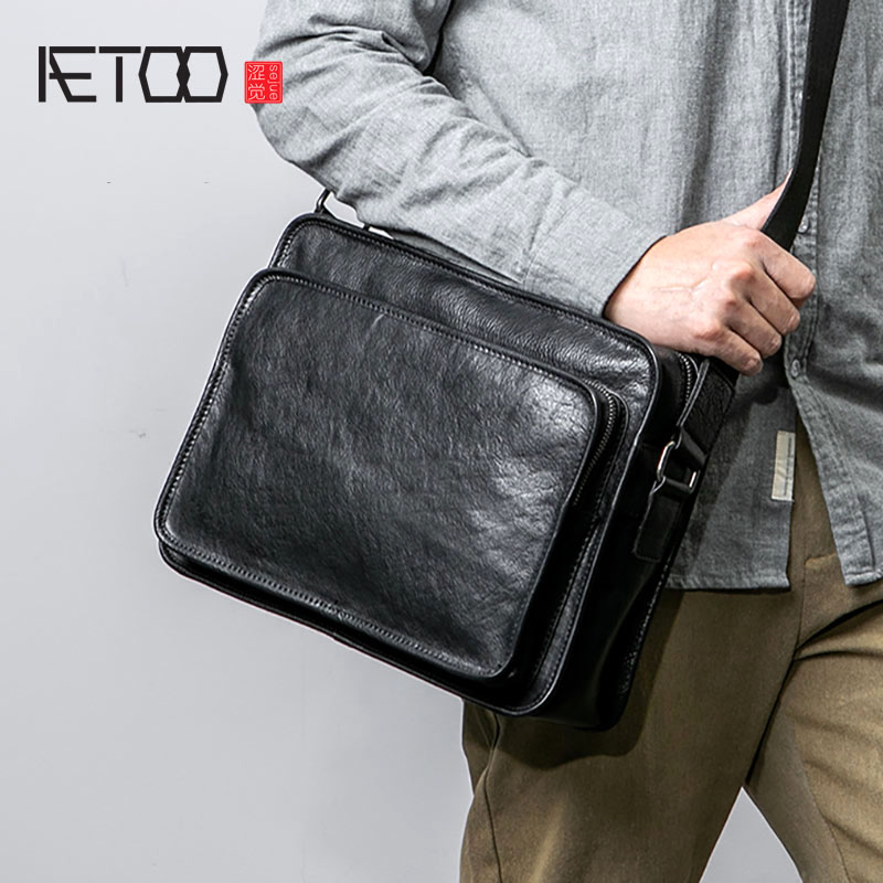 AETOO Leather Men's Business Bags, Casual Shoulder Bags, Head-layer Cowleather Fashion Sloping Bag