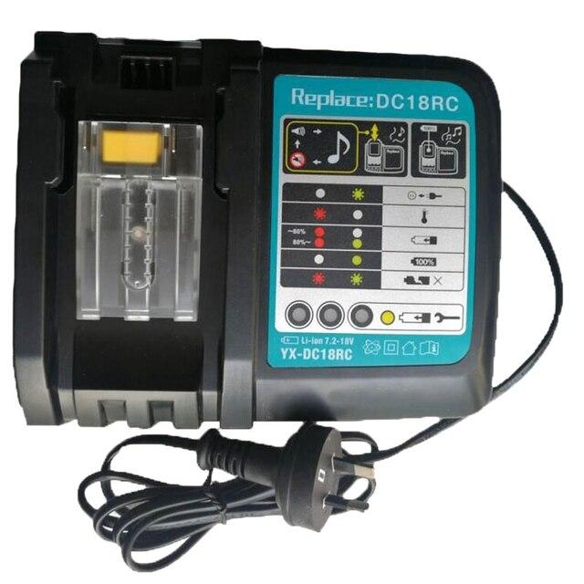 Cargador de batería Li Ion 3A corriente de carga para Makita 14,4 V 18V Bl1830 Bl1430 Dc18Rc Dc18Ra herramienta eléctrica Dc18Rct enchufe de carga Eu