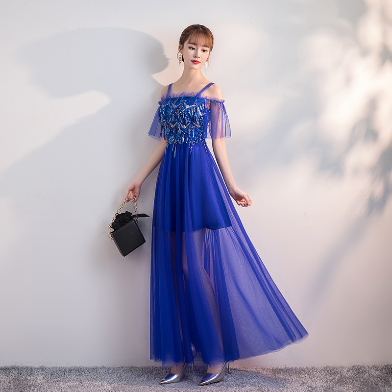 Royal Blue Bridesmaid Dresses Elegant Guest Wedding Party Vintage Sexy Sequin Top Black Beige Sleeveless Long Floor Length Prom
