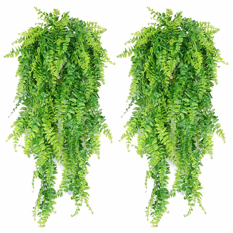 2pcs Artificial Hanging Vines Ferns Plants Fake Ivy Leaves Wall Decoration