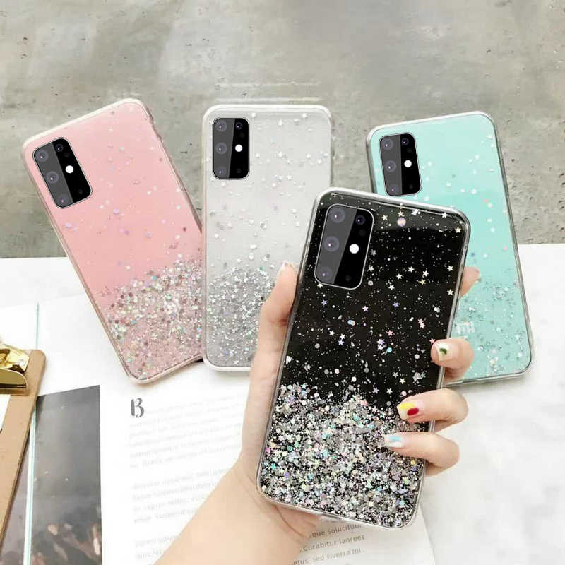 Soft Clear Glitter Star Case Tpu Cover Voor Samsung Galaxy A01 A11 A21S A31 A41 A51 A71 M31 Note 10 lite Plus A515 M21 M11