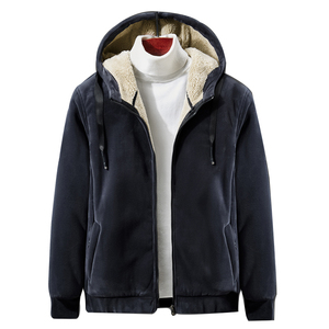 Image 1 - 2019 Winter New Soft Velvet Mens Hooded Fleece Warm Jackets Thicken Casual Thermal Coat Big Size 4XL 5XL