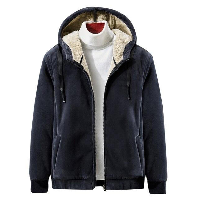 شتاء 2019 جديد الرجال المخملية الناعمة مقنعين الصوف السترات الدافئة رشاقته معطف الحرارية غير رسمية كبيرة الحجم 4XL 5XL